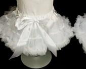 Ready to ship Girls' White Pettiskirt size medium - white petticoat- nylon chiffon pettiskirt - chiffon tutu skirt - Girls' Size Medium 2t-4