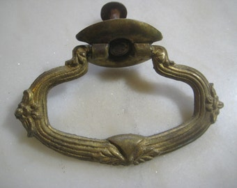 antique cast brass drop ring drawer pull circa 1920s hardware fitting restoration replacement