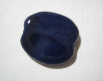 Vintage Porcelain Bead: Handmade Kazuri Large Round Purple Glazed African Ceramic Clay Lentil Coin Bead, Nairobi, Kenya 20x18mm, 1 piece (k)