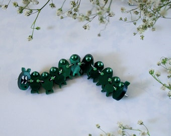 Exhausted Caterpillar Poseable Art Brooch by Winnifreds Daughter