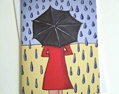 PRINTED CARD Umbrella Girl