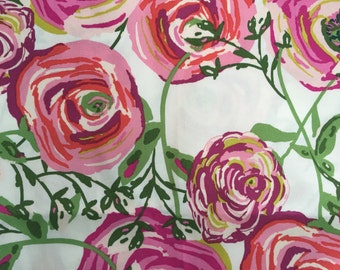 Baby Girl Crib Sheet or Changing Pad Cover, Flower Crib Bedding, Girl Nursery, Pink Crib Sheet,  Baby Girl Nursery Bedding, Joie De Vivre
