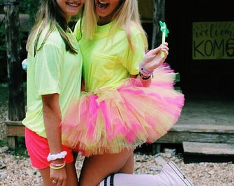 Teen Adult Women's Hot Pink and Lime Green Tutu . . . ATOMIC LIME & FUCHSIA
