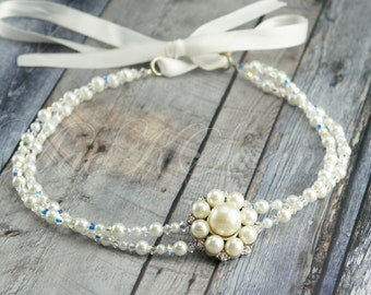 White Bridal Pearl Headband - Swarovski Wedding Headband - Rhinestone Hair Piece -  Simple - Traditional - Wedding Hair Piece