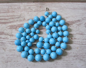 Turquoise Blue Glass Bead Necklace