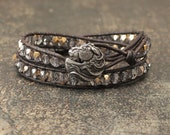 Unique Horse Bracelet Bronze Gray Smoky Silver  Leather Bracelet Handmade Cowgirl Glam Horse Jewelry Equestrian Jewelry