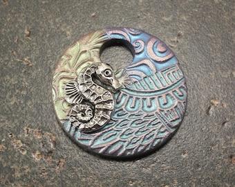 Seahorse Pendant Green Blue Turquoise Mixed Media Pendant Seahorse Art Bead