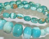 """16"""" Strand 212.62 carats Collectible Quality~Bright Vibrant Sky Blue HUBEI TURQUOISE Rondelle & Rice Gemstones - I0965"""