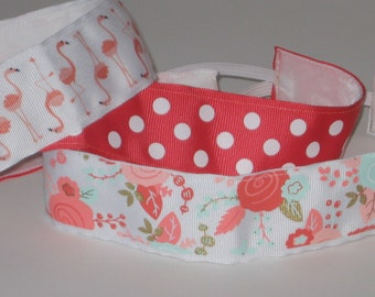 No Slip Headband, Flamingo, Rose, Polka Dot, Coral, Yoga Headband, Velvet Headband, Marathon, Jogger, Headband, Hair Accessory