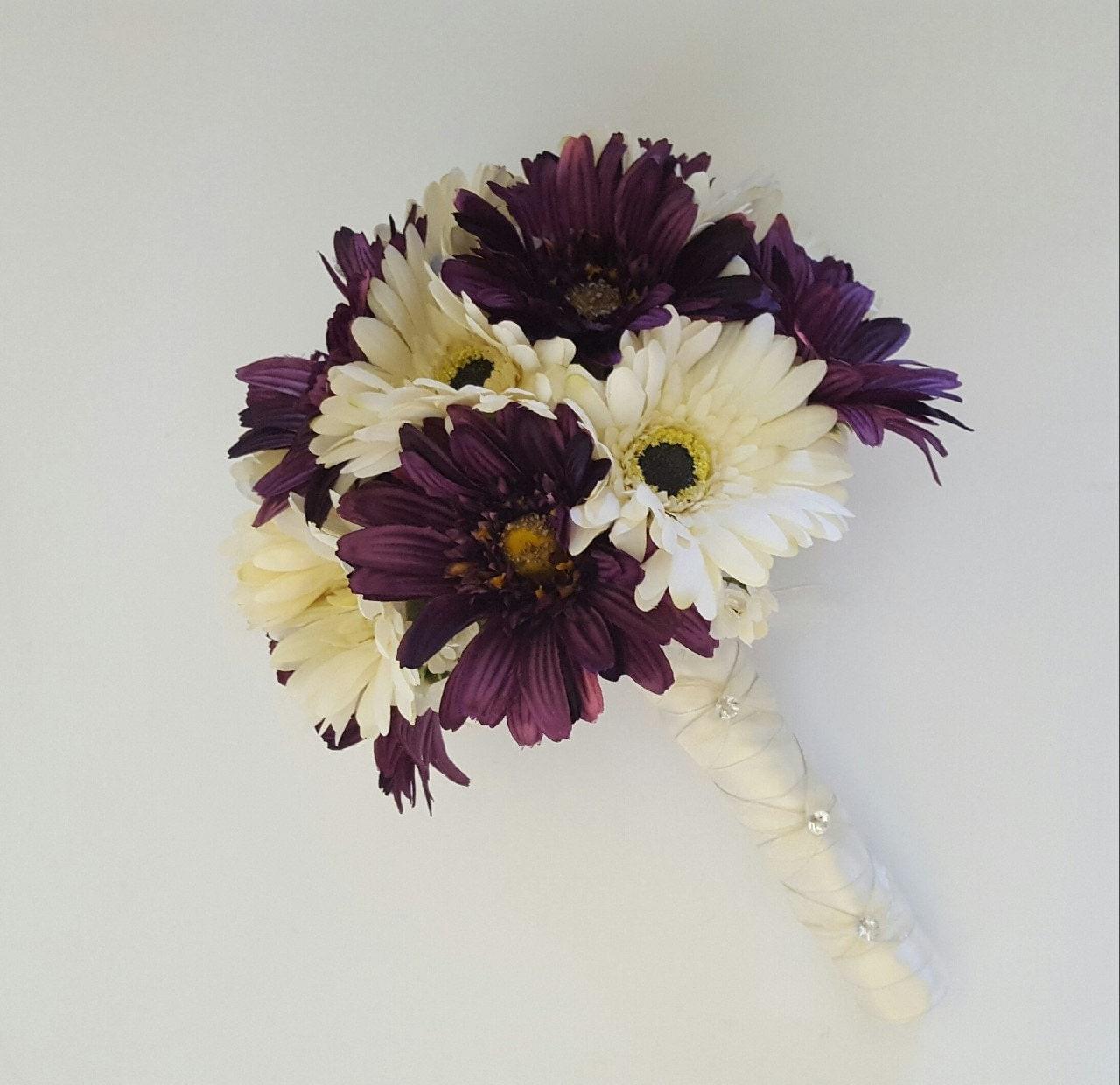 Gerbera Flower Wedding Bouquets: Eggplant Gerbera Daisy Bridal Bouquet Purple Wedding Bouquet