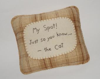 Cat Pillow - Funny Cat Bed Pillow - My Spot Pet Pillow - Small Throw Pillow - Brown Plaid