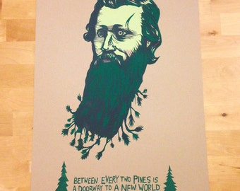 John Muir portrait screen print