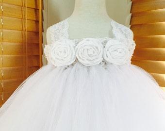 White Flower Girl Satin Rosette Tutu Dress, Wedding Dress, Baby Girl, Toddler, Girls