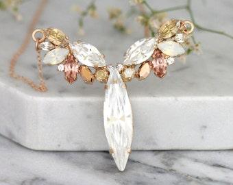 Bridal Rose Gold Necklace, Bridal Necklace, Bridal Rose Gold Necklace,White Opal Rose Gold Bridal Necklace,Bridal Jewelry,Champagne Necklace
