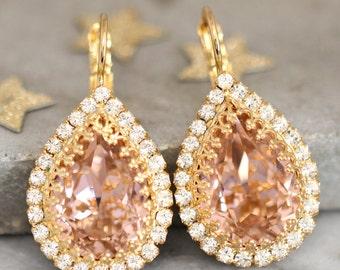 Blush Swarovski Earrings, Bridal Blush Drop Earrings,Bridesmaids Blush Earrings,Blush Crystal Gold Earrings,Bridal Earrings,Bridal Earrings