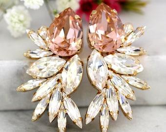 Blush Statement Earrings, Bridal Blush Earrings, Swarovski Bridal Earrings, Cocktail Earrings, Big Earring, bridal jewely, Wedding Earrings