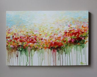 ORIGINAL  flower painting, abstract  flower painting ,red,orangegreen ,room  decoration,ORIGINALpainting,Contemporary  Neutral