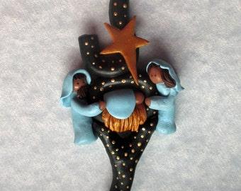 Joy NATIVITY AT NIGHT Christmas Ornament (Creche) Polymer Clay