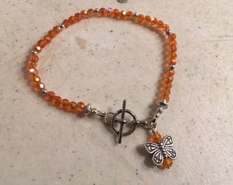 Orange Crystal Bracelet - UT Longhorn Jewelry - Silver Jewellery - Butterfly Charm - Fashion - Trendy