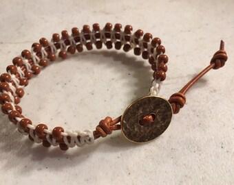 Brown Bracelet - Terra Cotta Seed Beads - Cream Macrame Jewelry - Fashion Jewellery - Trendy - Beaded - Gold Button