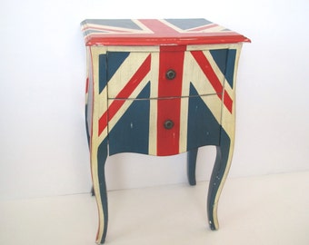 Vintage cabinet/Union Jack side table/ red/white/blue cabinet/curvy legs/metal knobs