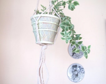 Mid century hanging planter and cord/ rattan patterned pot and woven cord/ hanging plant pot