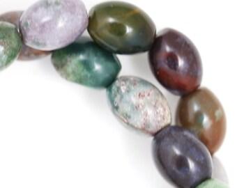CLEARANCE Fancy Jasper Beads - 12x10mm Oval - Half Strand
