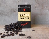 Vintage Bokar Coffee Tin Can Coin Savings Bank Litho Advertising Collectible Kitchen Office Home Decor