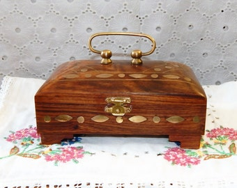 Vintage Wooden Handled Box~ Brass Inlay~Carved Solid Wood Trinket Box