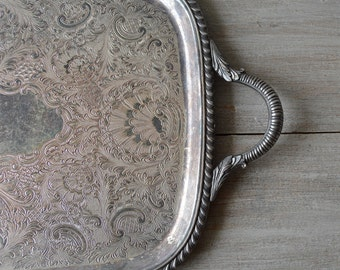 Vintage Sheffield Silver Plate Rectangle Tray