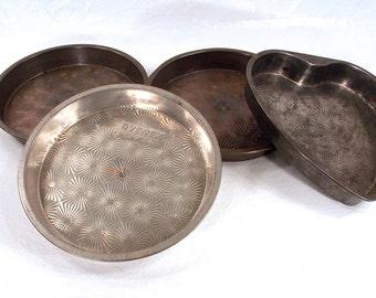 Vintage Ekco Ovenex Starburst Metal Round Cake Pans, Heart Shaped Baking Pan, Baking Tins, Aluminum Bakeware, Vintage Kitchenware