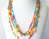Beaded crochet necklace, colorful long endless wrap necklace, bright color jewelry, Boho Chic style jewelry