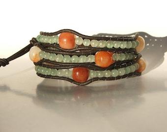 Leather Wrap Bracelet - New Jade &Carnelian beads on leather