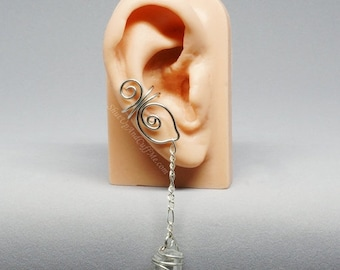 Summer Sale - 10% off - Quartz Ear Cuff Abstract Leaf Ear Cuff Silver Ear Cuff Spiral Ear Cuff - RIGHT ear only