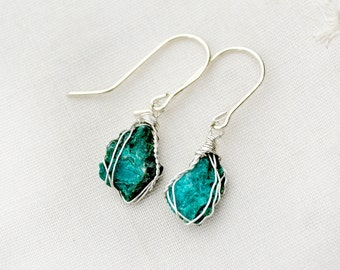 Turquoise Earrings Wrapped in Silver. Rough Cut Raw Stone Earrings. Teal Silver Earrings. Raw Stone Jewelry. Rustic Small light Earrings