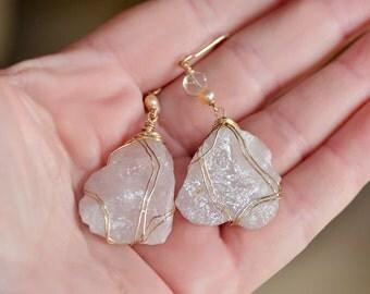 Raw Stone Earrings Rose Quartz Earrings Gold Filled Earrings Soft Pink Earrings Raw Stone Jewelry Quartz Crystal Earrings Rock Earrings