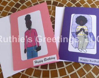 2-Pack of Blank African American Birthday Cards for Girls/Teens/Women