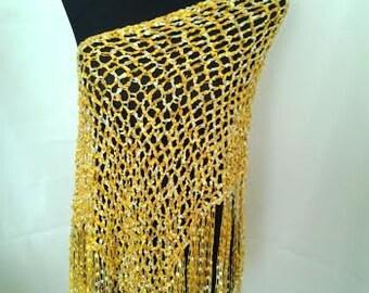 Hand Crochet Sparkly Yellow Shawl/Poncho/Wrap