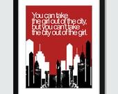 City Girl Wall Art. Cityscape Wall Print. 8x10 Custom Skyscraper Wall Print Poster