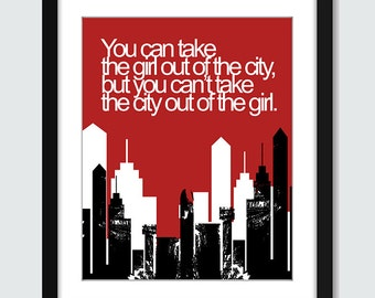 City Girl Wall Art. Cityscape Wall Print. 8x10 Custom Skyscraper Printable Wall Print Poster