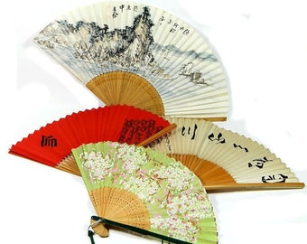 Choice of Vintage Asian Paper and Wood Folding Hand Fans Hand Painted