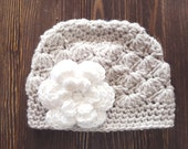 Girls Hat, Linen and White Girl Hat, Newborn Girl Hat, Crochet Baby Hat, Crochet Girls Hat, Baby Girl Hat, Baby Hat for Girls