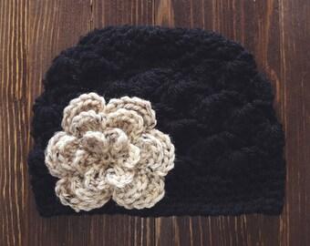 Girls Hat, Black and Tan Girl Hat, Newborn Girl Hat, Crochet Baby Hat, Crochet Girls Hat, Baby Girl Hat, Baby Hat for Girls