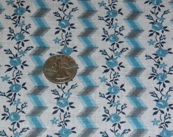 """Vintage Cotton Floral and Chevron Fabric Turquoise Grey Black Geometric and Rose Design Quilting 39"""" x 46"""""""