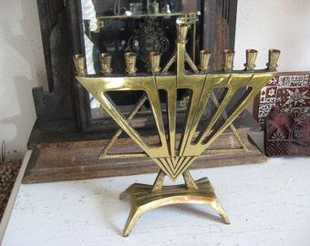 Modern Design Star Of David Menorah 1960's Brass