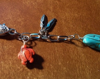 Key Chain Key Ring Add On Turquoise Magnesite AAA Grade Nugget Pendant Turtle Feather Charms 4 1/4 Inches Handmade Add on Dangle Charms