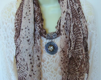 Jeweled scarf slide with matching fashion scarf