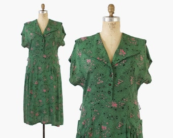 Vintage 40s NOVELTY Print DRESS / 1940s Fountains & Floral Green Rayon Plus Size Dress with Pockets XL