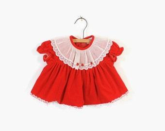 Vintage 80s Baby Dress / 1980s Little Girl's Red Velvet Holiday Dress 6-9 mos