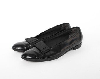 Vintage 60s Men's SHOES / 1960s Alan McAfee Church's Black Leather Formal Bow Tuxedo Dress Shoes 11 1/2